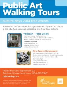 Public Art Walking Tours: Culture Days 2014 Free Events